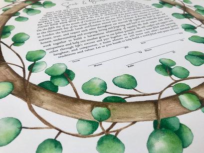 Eucalyptus watercolor ketubah