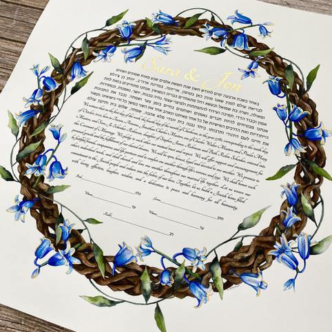 custom blue flowers watercolor ketubah