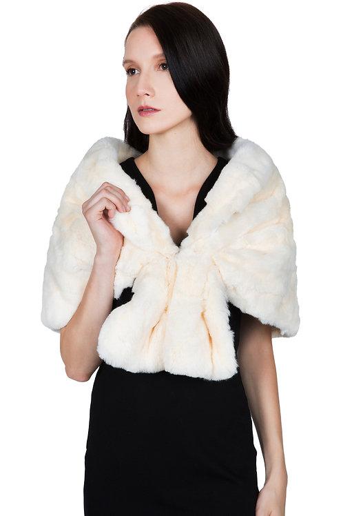 OBURLA™ Women's Real Rex Rabbit Fur Cape - Beige