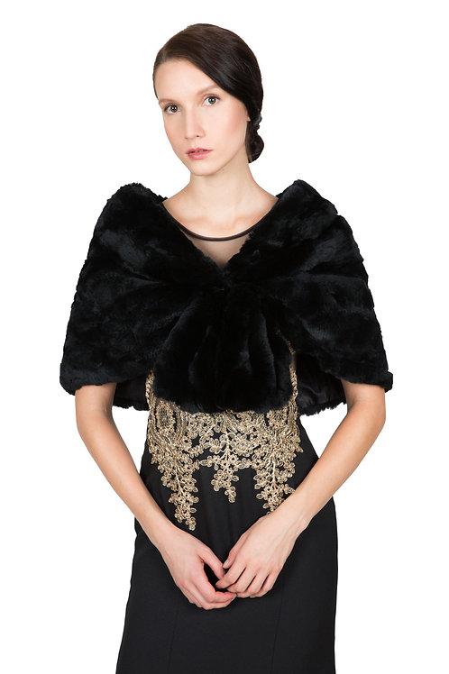 OBURLA™ Women's Real Rex Rabbit Fur Cape - Black
