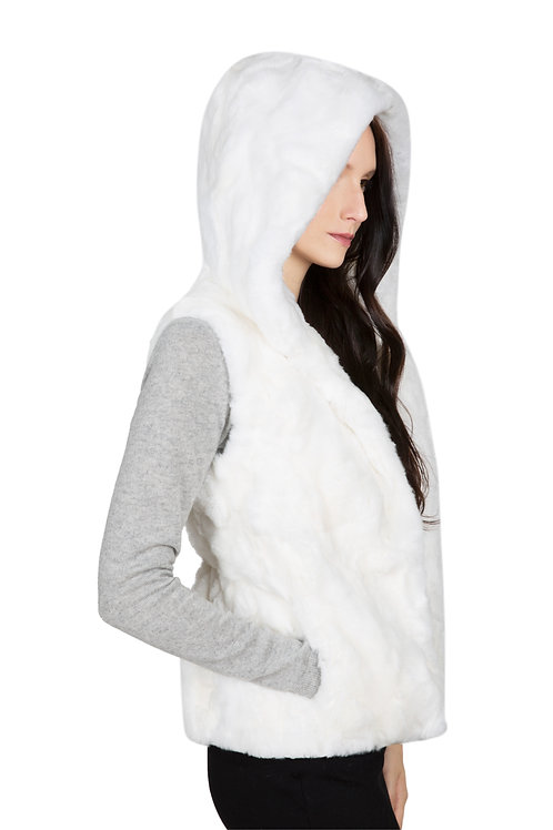 OBURLA Women's Genuine Rex Rabbit Hooded Fur Vest - White