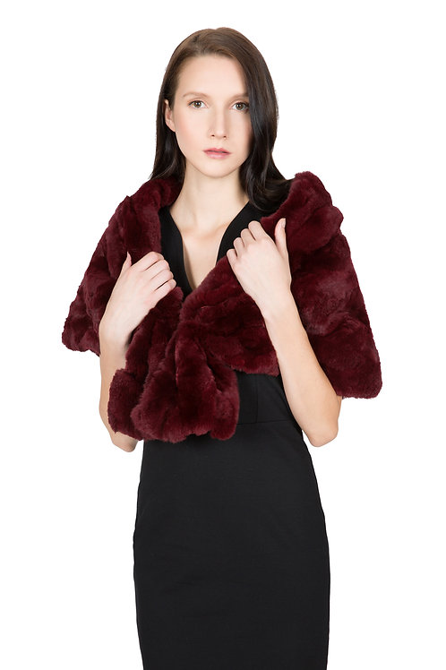 OBURLA™ Women's Real Rex Rabbit Fur Cape - Wine