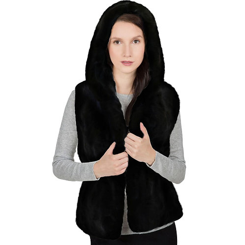 OBURLA Women's Genuine Rex Rabbit Hooded Fur Vest - Black