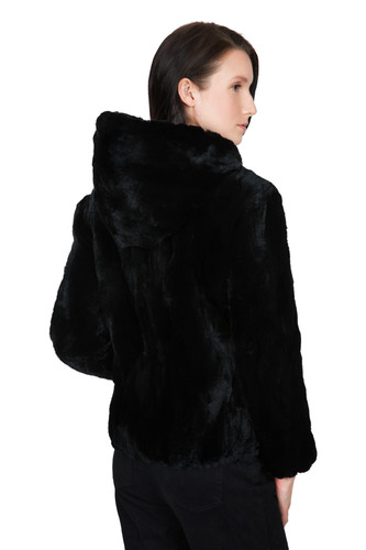 2b7902ad1 OBURLA Women's Real Rex Rabbit Fur Hooded Jacket