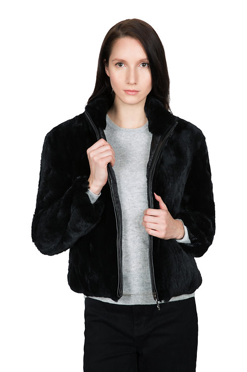 OBURLA Women's Real Rex Rabbit Fur Bomber Jacket