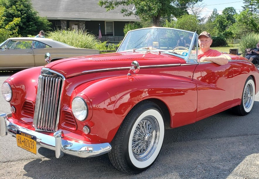 """David """"Scotty"""" Greenberger in his 1955 Sunbeam Alpine Mach three that he purchased in 1959 when he was 18 years old. Lifestyles photo by Katie Collins."""