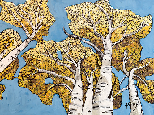 """Upper Mill Creek Aspens"" embellished Canvas Print"