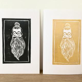 Linogravure barbu