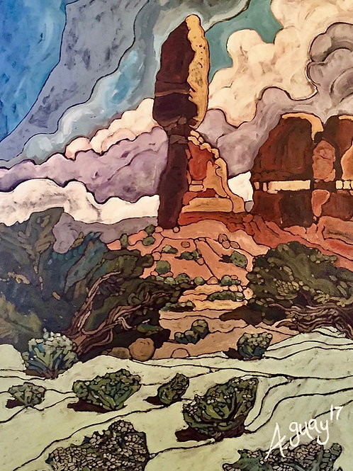 """Balanced Rock""textured fine art paper Giclee print"