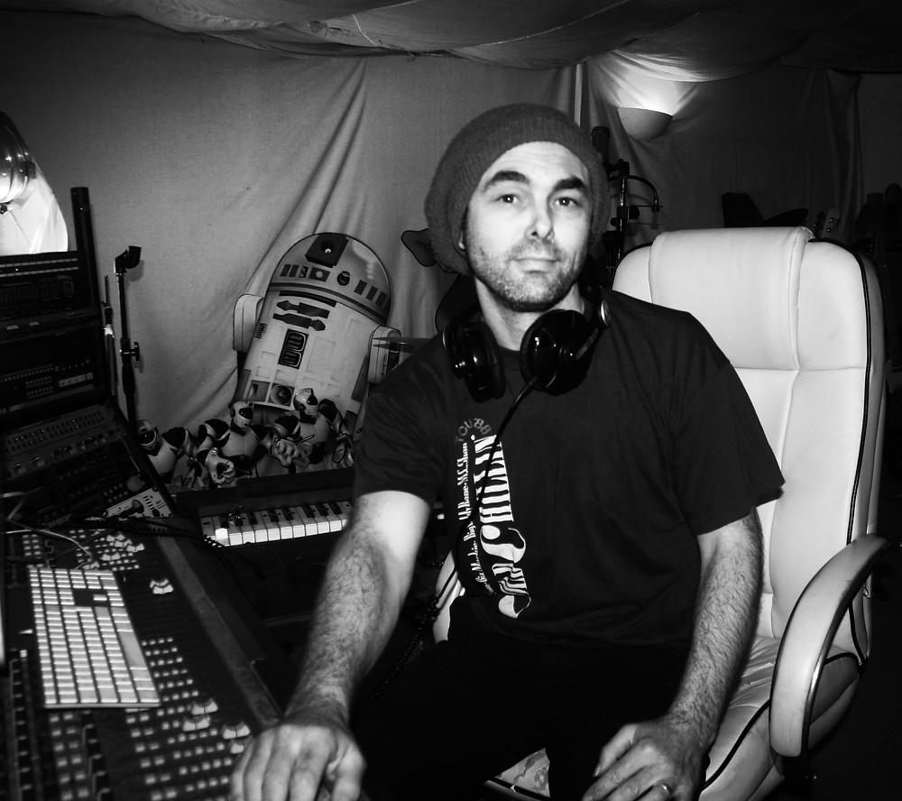Nik Vaughn AKA Mr Frisbee in the studio