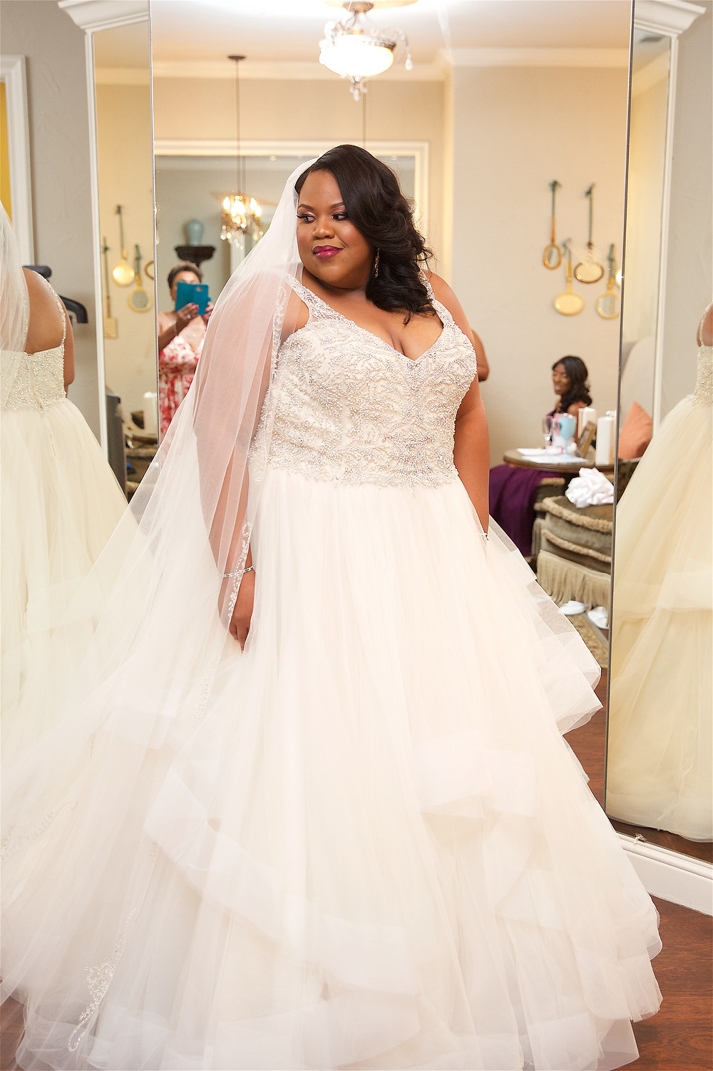 plus size wedding dress with horsehair ruffles