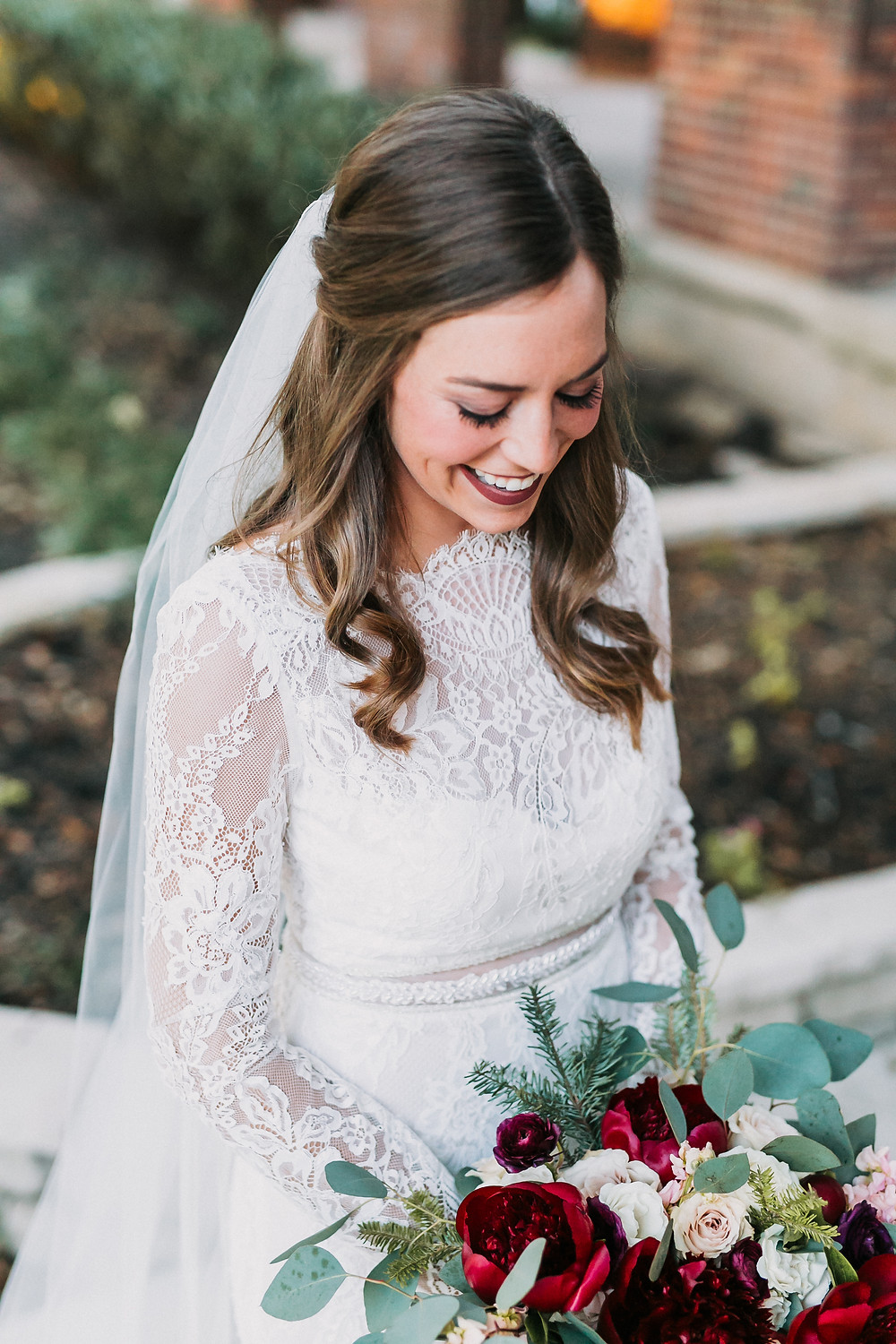 high neck lace long sleeve wedding dress