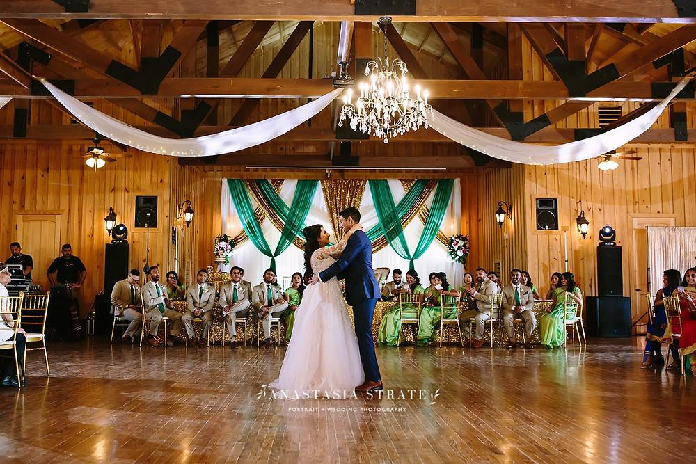 reception wedding photo with aline wedding dress
