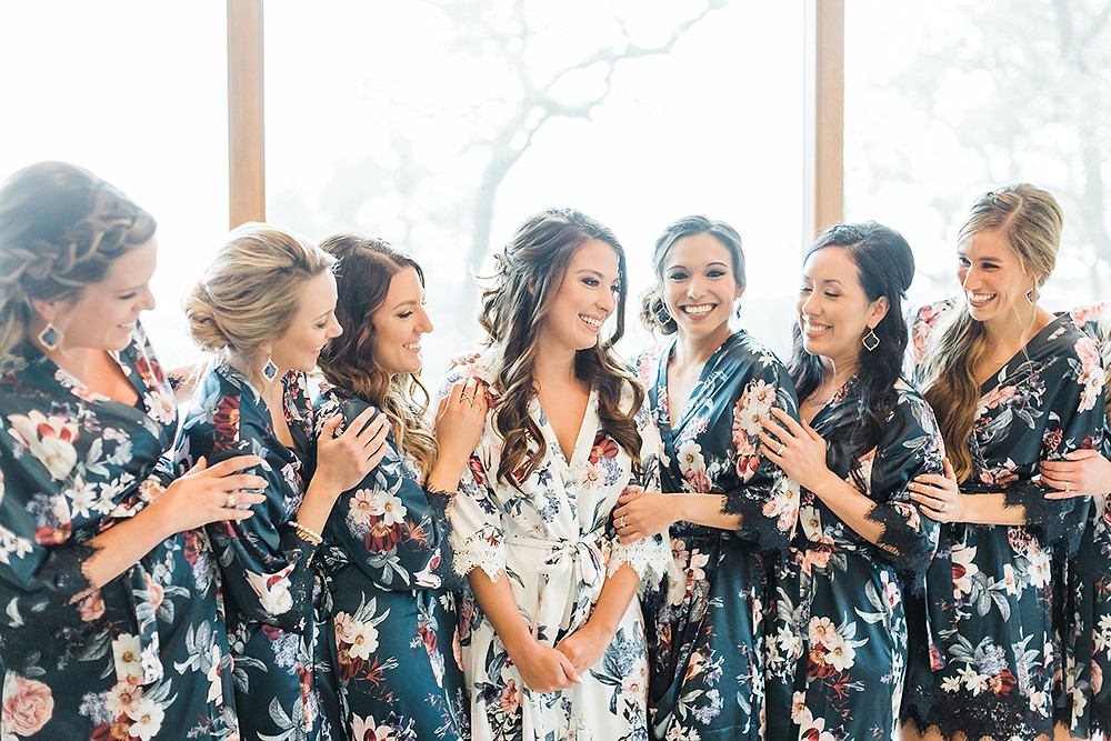 bridal party getting ready bridesmaids robes