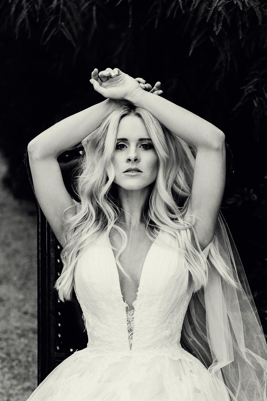 sexy wedding dress with v-neckline
