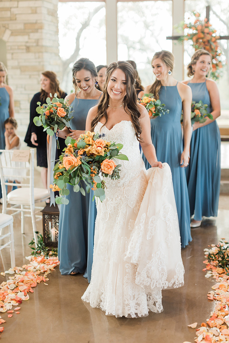 bride and bridesmaids in slate high neck dresses