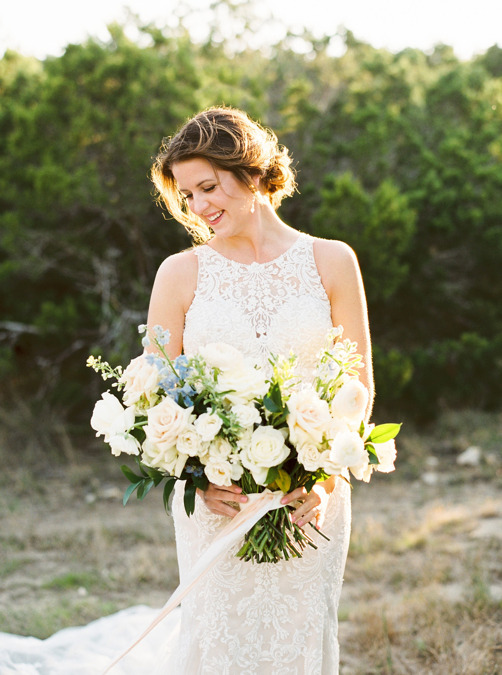 white rose floral bridal bouquet