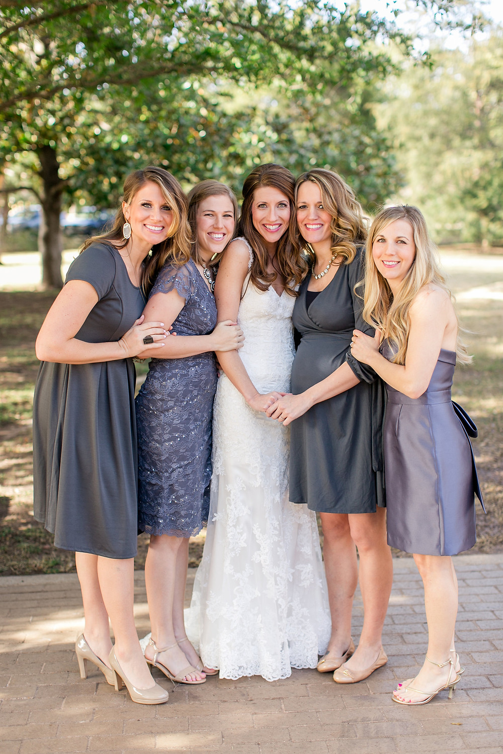 bride and her family in greys