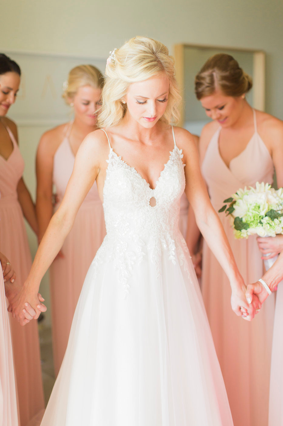 blush bridesmaids, lace wedding dress