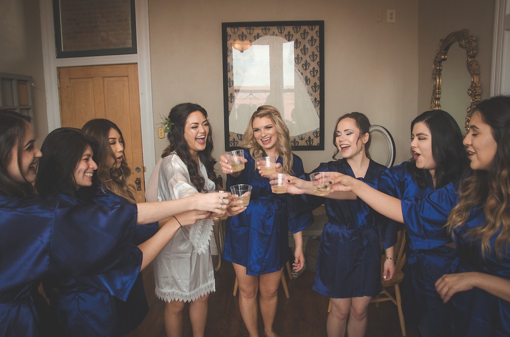 cheers to the bridesmaids and getting ready