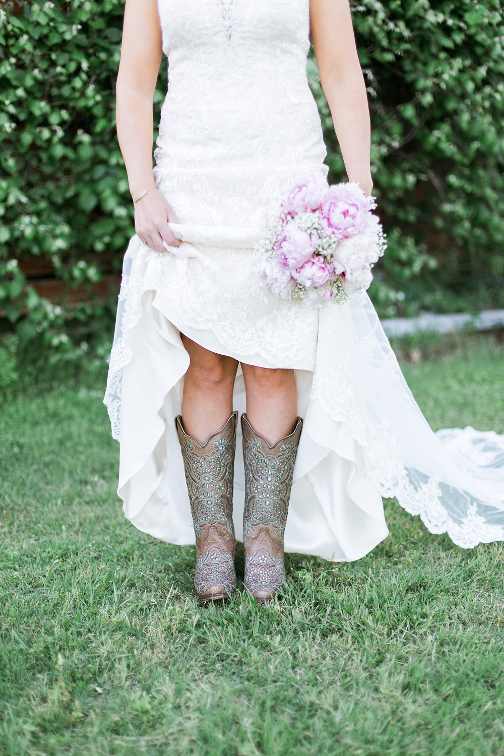 southern wedding dress with boots