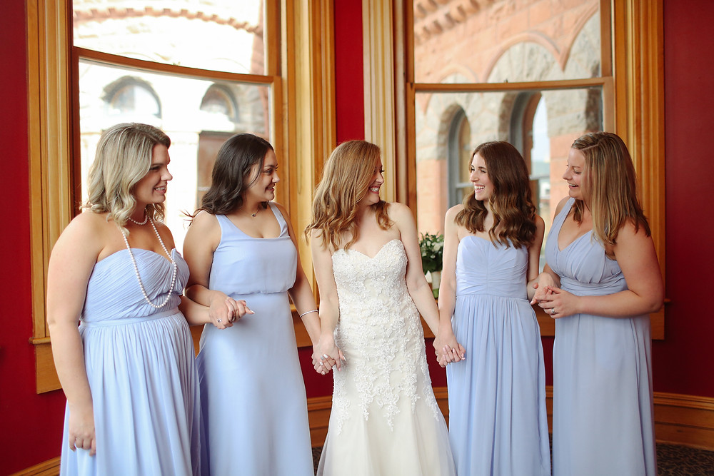 bridesmaids in baby blue
