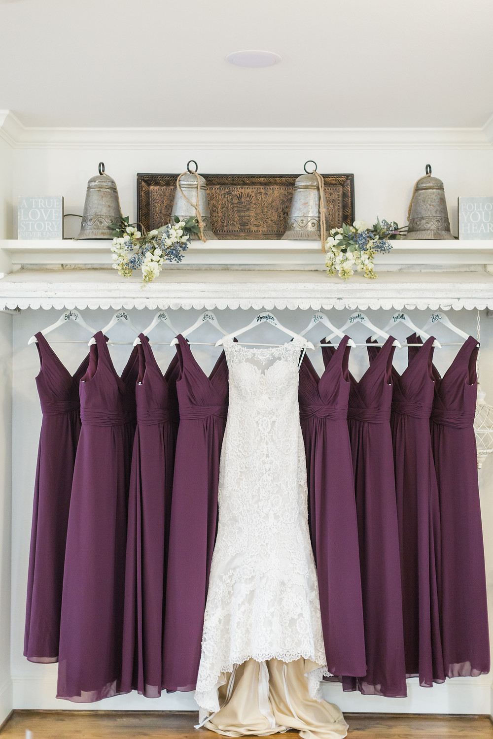 wedding dress and bridesmaid dresses in maroon