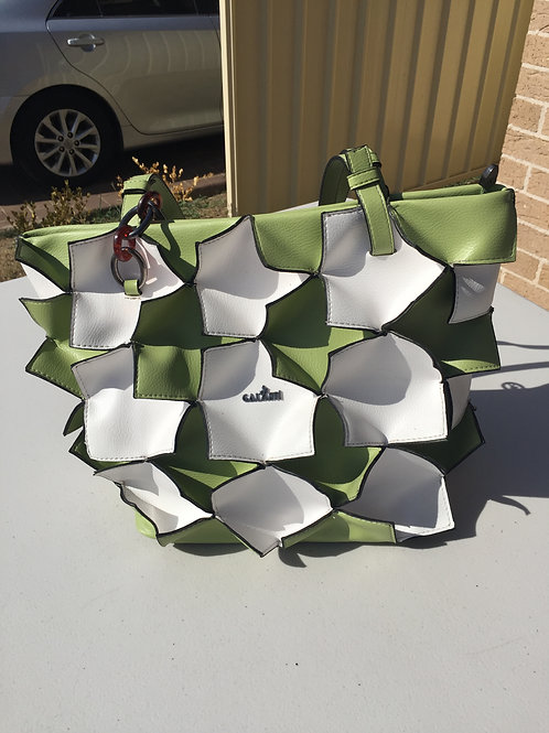 Green and White Ladies Handbag
