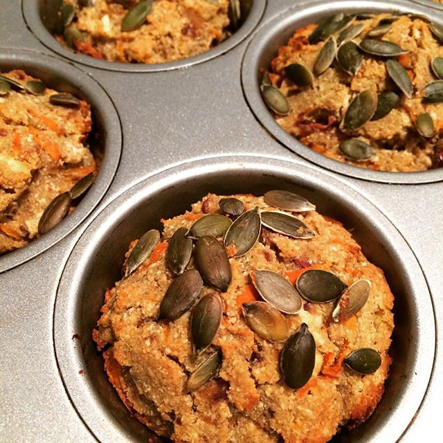 Autumn inspired spiced apple and carrot muffins