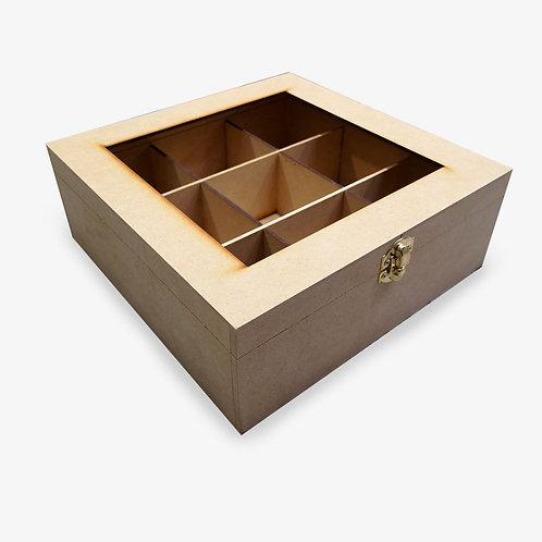 Caja para té de 9 sobres con vidrio