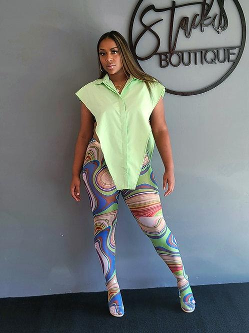 Plus- GALAXY BODY ART mesh pant