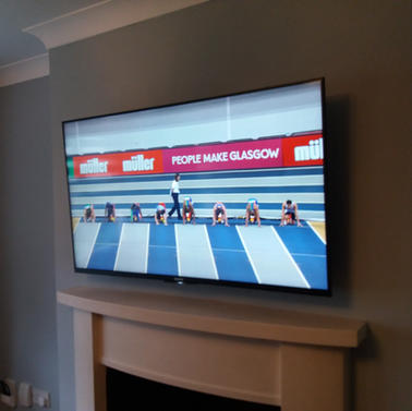 Tv mounted on the wall for a client from Holywell Swords