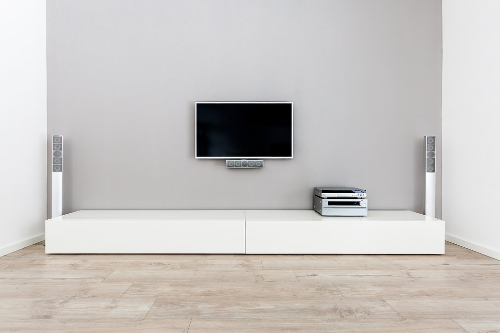 Living-Room interior with large grey wal