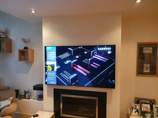 """65"""" Samsung tv mounted on the wall for a client from Cabinteely South Dublin"""