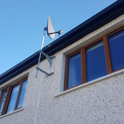 Satellite dish installed on the pole for a client from Ballincollig