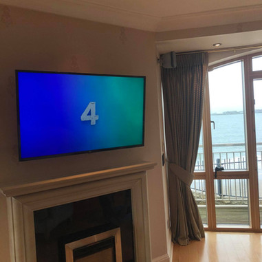 Tv mounted on the swivel wall bracket in Howth North County Dublin