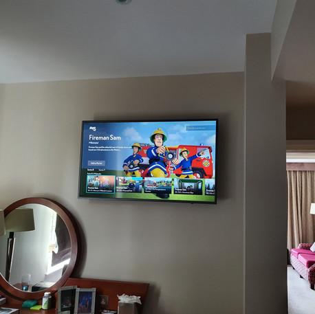 Tv installation in hotel room