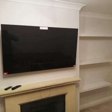 TV WALL MOUNTING WITH AN EXTENDABLE WALL BRACKET AND ALL CABLES CONCEALED IN TRIM CO MEATH