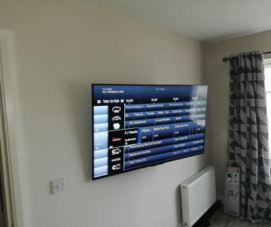 Tv mounted on the swivel wall bracket in Rampart Green Drogheda Co Louth