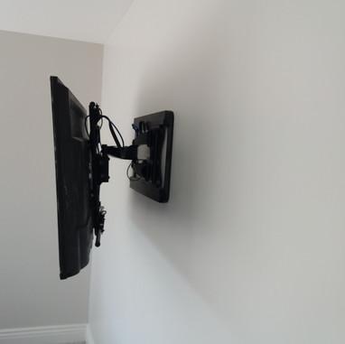 Tv mounted on the swivel wall bracket in Julianstown Co Meath