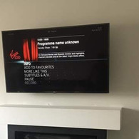 Tv installation with Virgin Media box hidden behind the tv in Dunshaughlin Co Meath