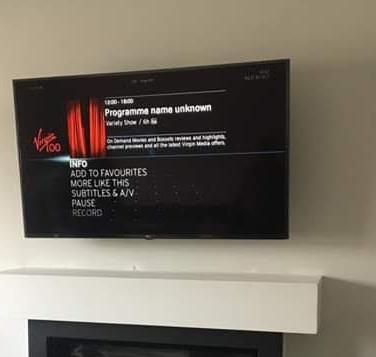Tv installation with Virgin Media box hidden behind the tv in Dunshaughlin Co Meath