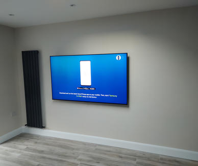 """75"""" tv mounted on the wall in The Willow, Dunshaughlin, Co Meath"""