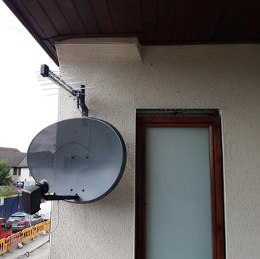 Satellite dish and Saorview aerial installation in Bachelors Walk Ashbourne Co Meath