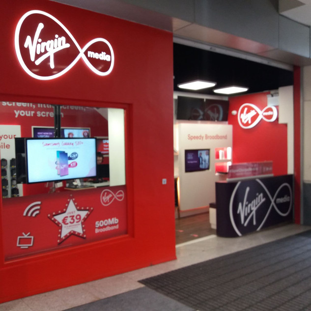 WE INSTALLED TV WALL BRACKETS IN VIRGIN MEDIA STORE IN ILAC CENTRE  DUBLIN 1