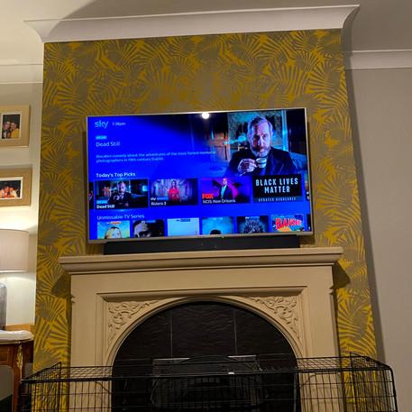 Tv installed above fireplace in Kilcock, Co Kildare