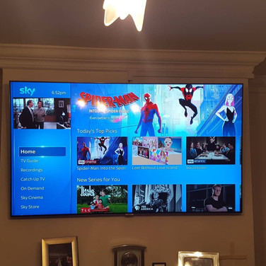 TV INSTALLATION WITH SKY BOX HIDDEN BEHIND THE TV