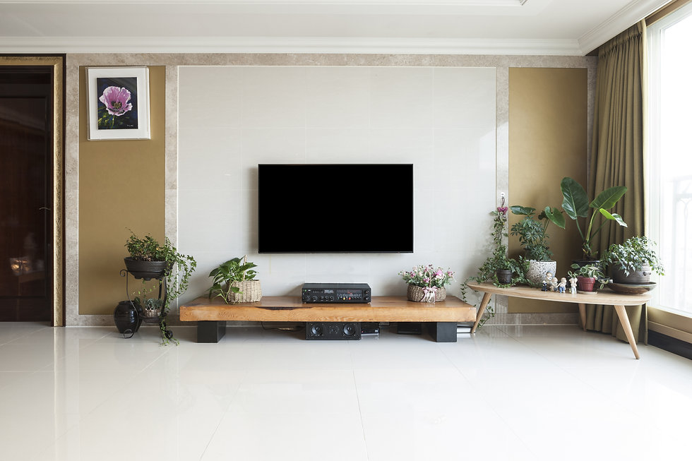 Living room with smart television(TV, LE