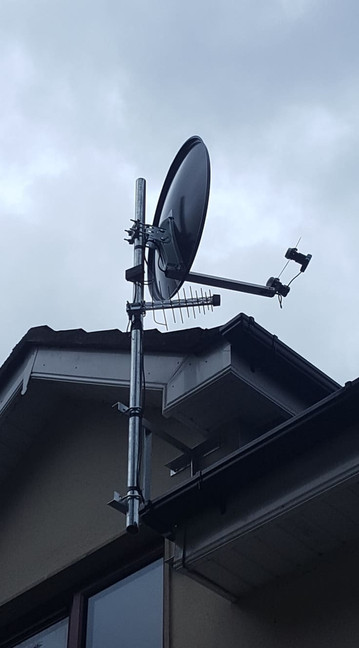 Solid satellite dish installation pointing two satellites Astra 28,2 and  Hotbird Leixlip Co Kildare
