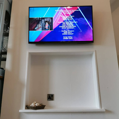 Tv mounted on the flat wall bracket for a client from Ashbourne Co Meath